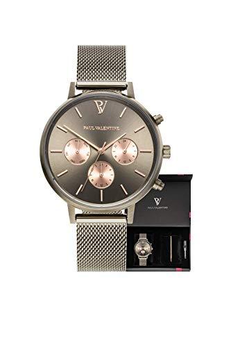 Paul Valentine - Damenuhr Geschenkbox Multifunctional Geschenkbox mit hochwertigem Faye Sleek Bracelet Silver oder Roségold Geschenkset Uhren-Box mit passendem Armband (Multifunctional Khaki Box) - 1