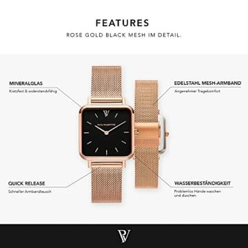 Paul Valentine - Damenuhr Glossyedge Uhr aus Edelstahl mit Mesh Armband Edle Damen Uhr mit japanischem Quarzwerk - Armbanduhr für Damen (Rose Gold Black Mesh) - 2