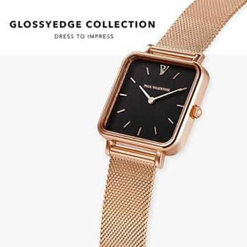 Paul Valentine - Damenuhr Glossyedge Uhr aus Edelstahl mit Mesh Armband Edle Damen Uhr mit japanischem Quarzwerk - Armbanduhr für Damen (Rose Gold Black Mesh) - 3