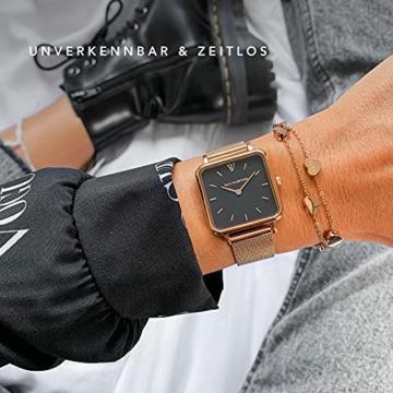 Paul Valentine - Damenuhr Glossyedge Uhr aus Edelstahl mit Mesh Armband Edle Damen Uhr mit japanischem Quarzwerk - Armbanduhr für Damen (Rose Gold Black Mesh) - 4