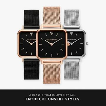 Paul Valentine - Damenuhr Glossyedge Uhr aus Edelstahl mit Mesh Armband Edle Damen Uhr mit japanischem Quarzwerk - Armbanduhr für Damen (Rose Gold Black Mesh) - 6