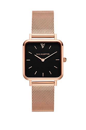 Paul Valentine - Damenuhr Glossyedge Uhr aus Edelstahl mit Mesh Armband Edle Damen Uhr mit japanischem Quarzwerk - Armbanduhr für Damen (Rose Gold Black Mesh) - 1