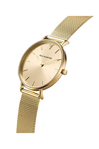 Paul Valentine Damenuhr - Gold Melrose Mesh - Armbanduhr mit Gold Ziffernblatt, kratzfestes Glas, Mesh-Armband in Gold, Uhr für Damen (32mm) - 2