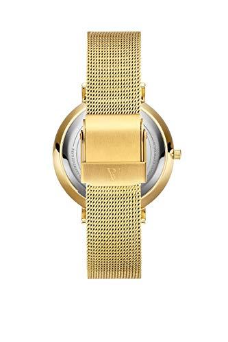 Paul Valentine Damenuhr - Gold Melrose Mesh - Armbanduhr mit Gold Ziffernblatt, kratzfestes Glas, Mesh-Armband in Gold, Uhr für Damen (32mm) - 3