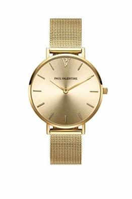 Paul Valentine Damenuhr - Gold Melrose Mesh - Armbanduhr mit Gold Ziffernblatt, kratzfestes Glas, Mesh-Armband in Gold, Uhr für Damen (32mm) - 1