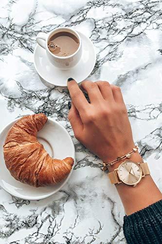 Paul Valentine Damenuhr - Gold Melrose Mesh - Armbanduhr mit Gold Ziffernblatt, kratzfestes Glas, Mesh-Armband in Gold, Uhr für Damen (32mm) - 5
