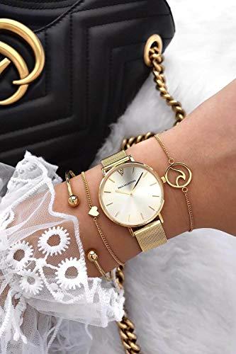 Paul Valentine Damenuhr - Gold Melrose Mesh - Armbanduhr mit Gold Ziffernblatt, kratzfestes Glas, Mesh-Armband in Gold, Uhr für Damen (32mm) - 6