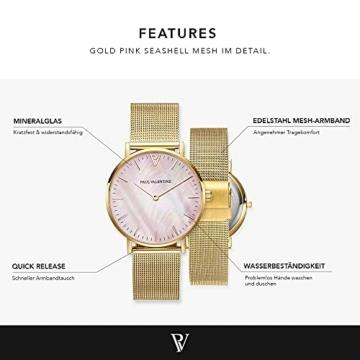 Paul Valentine Damenuhr - Gold Pink Seashell Mesh - Armbanduhr mit Perlmutt Ziffernblatt in rosa, kratzfestes Glas und Mesh-Armband, Uhr für Damen Gold (36mm) - 2