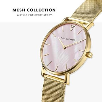 Paul Valentine Damenuhr - Gold Pink Seashell Mesh - Armbanduhr mit Perlmutt Ziffernblatt in rosa, kratzfestes Glas und Mesh-Armband, Uhr für Damen Gold (36mm) - 3