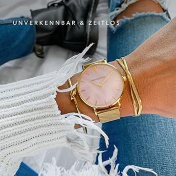Paul Valentine Damenuhr - Gold Pink Seashell Mesh - Armbanduhr mit Perlmutt Ziffernblatt in rosa, kratzfestes Glas und Mesh-Armband, Uhr für Damen Gold (36mm) - 4