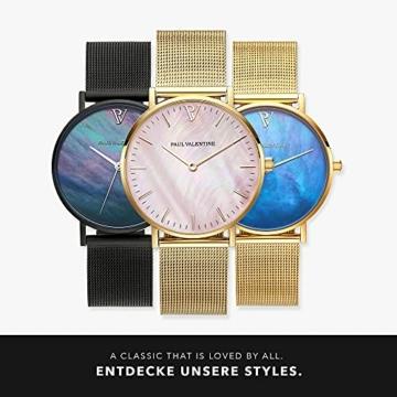 Paul Valentine Damenuhr - Gold Pink Seashell Mesh - Armbanduhr mit Perlmutt Ziffernblatt in rosa, kratzfestes Glas und Mesh-Armband, Uhr für Damen Gold (36mm) - 6