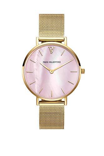 Paul Valentine Damenuhr - Gold Pink Seashell Mesh - Armbanduhr mit Perlmutt Ziffernblatt in rosa, kratzfestes Glas und Mesh-Armband, Uhr für Damen Gold (36mm) - 1