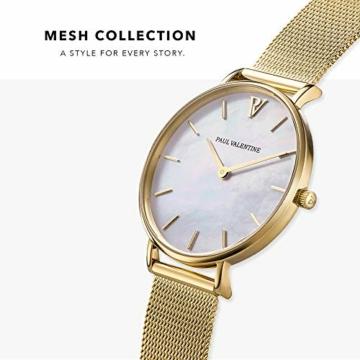 Paul Valentine - Damenuhr - Gold Seashell Mesh - 32 mm Armbanduhr mit schönem Ziffernblatt aus Perlmutt, kratzfestes Glas, Mesh-Armband, Uhr für Damen - 2