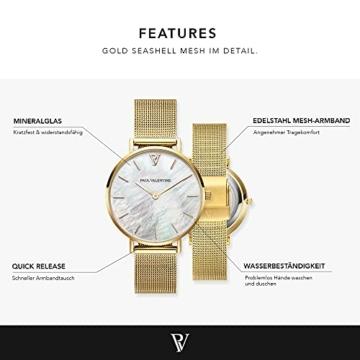 Paul Valentine - Damenuhr - Gold Seashell Mesh - 32 mm Armbanduhr mit schönem Ziffernblatt aus Perlmutt, kratzfestes Glas, Mesh-Armband, Uhr für Damen - 3