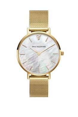 Paul Valentine - Damenuhr - Gold Seashell Mesh - 32 mm Armbanduhr mit schönem Ziffernblatt aus Perlmutt, kratzfestes Glas, Mesh-Armband, Uhr für Damen - 1