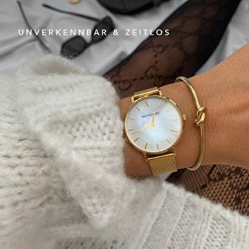 Paul Valentine - Damenuhr - Gold Seashell Mesh - 32 mm Armbanduhr mit schönem Ziffernblatt aus Perlmutt, kratzfestes Glas, Mesh-Armband, Uhr für Damen - 4