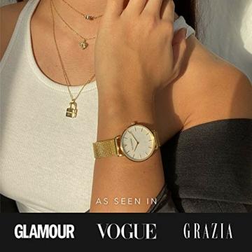 Paul Valentine - Damenuhr - Gold Seashell Mesh - 32 mm Armbanduhr mit schönem Ziffernblatt aus Perlmutt, kratzfestes Glas, Mesh-Armband, Uhr für Damen - 5
