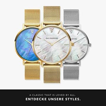 Paul Valentine - Damenuhr - Gold Seashell Mesh - 32 mm Armbanduhr mit schönem Ziffernblatt aus Perlmutt, kratzfestes Glas, Mesh-Armband, Uhr für Damen - 6