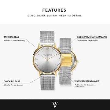 Paul Valentine Damenuhr - Gold Silver Sunray Mesh - Armbanduhr Silber mit Gold Akzenten, kratzfestes Glas, Mesh-Armband Silver, Uhr für Damen (32mm) - 2