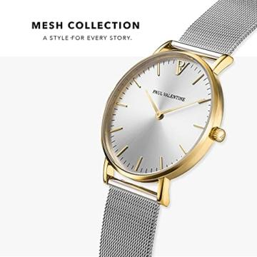 Paul Valentine Damenuhr - Gold Silver Sunray Mesh - Armbanduhr Silber mit Gold Akzenten, kratzfestes Glas, Mesh-Armband Silver, Uhr für Damen (32mm) - 3