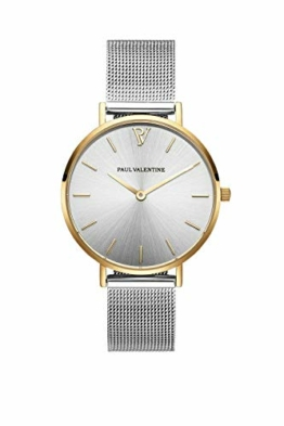 Paul Valentine Damenuhr - Gold Silver Sunray Mesh - Armbanduhr Silber mit Gold Akzenten, kratzfestes Glas, Mesh-Armband Silver, Uhr für Damen (32mm) - 1