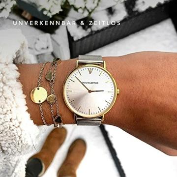 Paul Valentine Damenuhr - Gold Silver Sunray Mesh - Armbanduhr Silber mit Gold Akzenten, kratzfestes Glas, Mesh-Armband Silver, Uhr für Damen (32mm) - 4