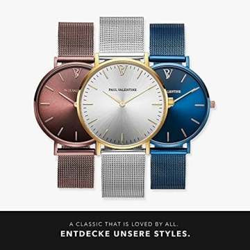Paul Valentine Damenuhr - Gold Silver Sunray Mesh - Armbanduhr Silber mit Gold Akzenten, kratzfestes Glas, Mesh-Armband Silver, Uhr für Damen (32mm) - 6