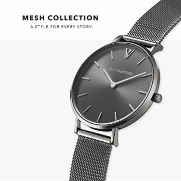 Paul Valentine Damenuhr - Graphite Mesh - Armbanduhr mit Metallic-Ziffernblatt in grau, kratzfestes Glas, schmales Mesh-Armband, Zeitlose Uhr für Damen (32mm) - 2