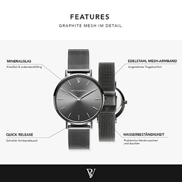 Paul Valentine Damenuhr - Graphite Mesh - Armbanduhr mit Metallic-Ziffernblatt in grau, kratzfestes Glas, schmales Mesh-Armband, Zeitlose Uhr für Damen (32mm) - 3