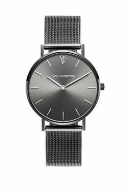 Paul Valentine Damenuhr - Graphite Mesh - Armbanduhr mit Metallic-Ziffernblatt in grau, kratzfestes Glas, schmales Mesh-Armband, Zeitlose Uhr für Damen (32mm) - 1