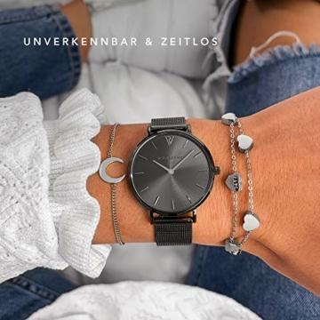 Paul Valentine Damenuhr - Graphite Mesh - Armbanduhr mit Metallic-Ziffernblatt in grau, kratzfestes Glas, schmales Mesh-Armband, Zeitlose Uhr für Damen (32mm) - 4