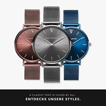 Paul Valentine Damenuhr - Graphite Mesh - Armbanduhr mit Metallic-Ziffernblatt in grau, kratzfestes Glas, schmales Mesh-Armband, Zeitlose Uhr für Damen (32mm) - 6
