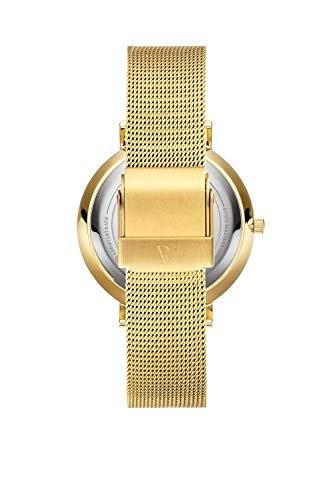 Paul Valentine Damenuhr - Marina Pearl Gold Mesh - Armbanduhr mit weißem Ziffernblatt, kratzfestes Glas, Mesh-Armband in Gold, Uhr für Damen (32mm) - 2