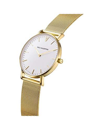 Paul Valentine Damenuhr - Marina Pearl Gold Mesh - Armbanduhr mit weißem Ziffernblatt, kratzfestes Glas, Mesh-Armband in Gold, Uhr für Damen (32mm) - 3