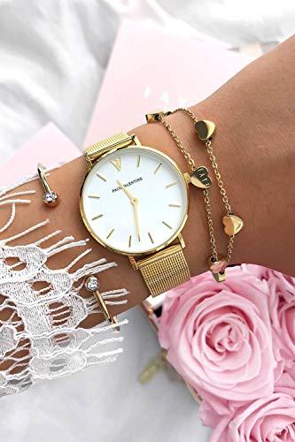 Paul Valentine Damenuhr - Marina Pearl Gold Mesh - Armbanduhr mit weißem Ziffernblatt, kratzfestes Glas, Mesh-Armband in Gold, Uhr für Damen (32mm) - 5