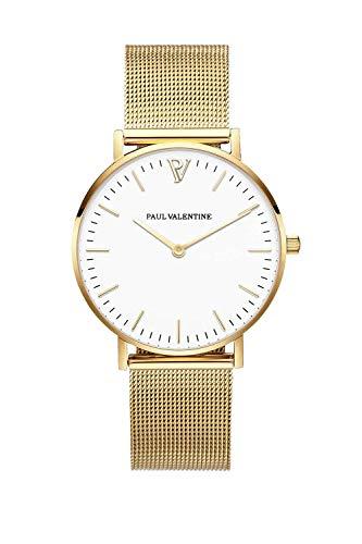 Paul Valentine Damenuhr - Marina Pearl Gold Mesh - Armbanduhr mit weißem Ziffernblatt, kratzfestes Glas, Mesh-Armband in Gold, Uhr für Damen (32mm) - 1