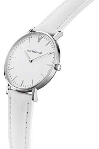 Paul Valentine - Damenuhr Marina Silver White mit weißem Leder-Armband - 36 mm Gehäusedurchmesser - Edle Damen Uhr mit japanischem Quarzwerk - Spritzwassergeschützt - Armbanduhr für Damen - 2