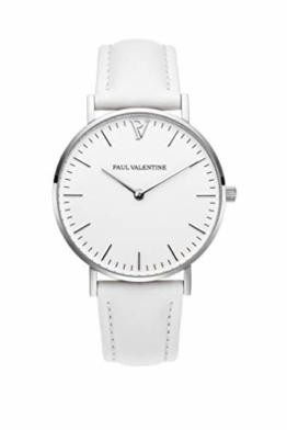 Paul Valentine - Damenuhr Marina Silver White mit weißem Leder-Armband - 36 mm Gehäusedurchmesser - Edle Damen Uhr mit japanischem Quarzwerk - Spritzwassergeschützt - Armbanduhr für Damen - 1