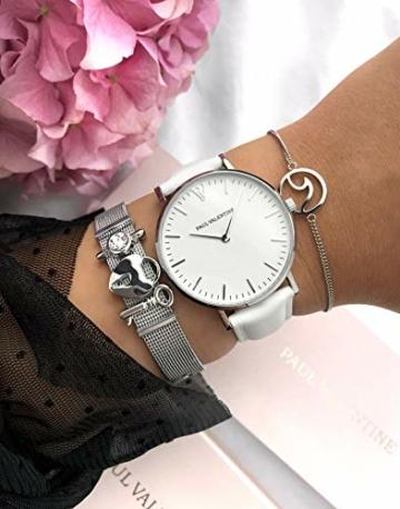 Paul Valentine - Damenuhr Marina Silver White mit weißem Leder-Armband - 36 mm Gehäusedurchmesser - Edle Damen Uhr mit japanischem Quarzwerk - Spritzwassergeschützt - Armbanduhr für Damen - 5
