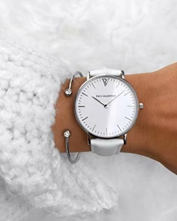 Paul Valentine - Damenuhr Marina Silver White mit weißem Leder-Armband - 36 mm Gehäusedurchmesser - Edle Damen Uhr mit japanischem Quarzwerk - Spritzwassergeschützt - Armbanduhr für Damen - 6