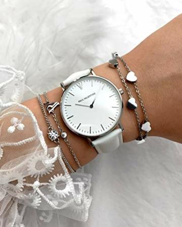Paul Valentine - Damenuhr Marina Silver White mit weißem Leder-Armband - 36 mm Gehäusedurchmesser - Edle Damen Uhr mit japanischem Quarzwerk - Spritzwassergeschützt - Armbanduhr für Damen - 7