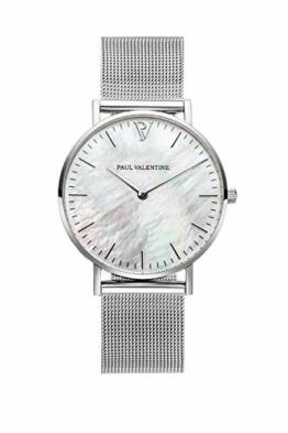 Paul Valentine - Damenuhr mit Mesh Armband - 32, 36 oder 38mm - Edle Damen Uhr mit japanischem Quarzwerk - Spritzwassergeschützt - Armbanduhr für Damen (Silver Seashell Mesh 36 mm) - 1