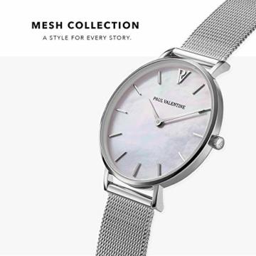 Paul Valentine - Damenuhr mit Mesh Armband - 32, 36 oder 38mm - Edle Damen Uhr mit japanischem Quarzwerk - Spritzwassergeschützt - Armbanduhr für Damen (Silver Seashell Mesh 36 mm) - 2