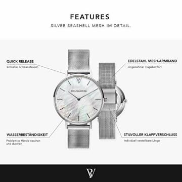 Paul Valentine - Damenuhr mit Mesh Armband - 32, 36 oder 38mm - Edle Damen Uhr mit japanischem Quarzwerk - Spritzwassergeschützt - Armbanduhr für Damen (Silver Seashell Mesh 36 mm) - 3