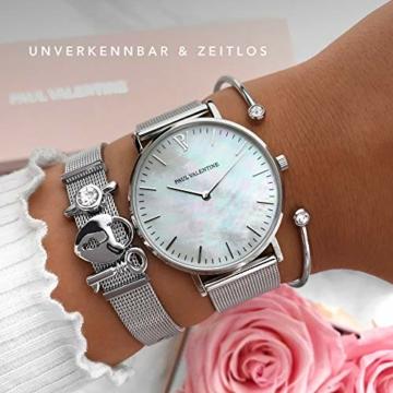Paul Valentine - Damenuhr mit Mesh Armband - 32, 36 oder 38mm - Edle Damen Uhr mit japanischem Quarzwerk - Spritzwassergeschützt - Armbanduhr für Damen (Silver Seashell Mesh 36 mm) - 4