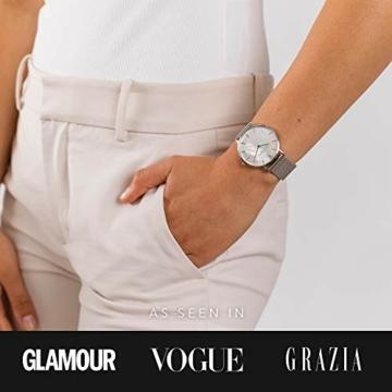 Paul Valentine - Damenuhr mit Mesh Armband - 32, 36 oder 38mm - Edle Damen Uhr mit japanischem Quarzwerk - Spritzwassergeschützt - Armbanduhr für Damen (Silver Seashell Mesh 36 mm) - 5