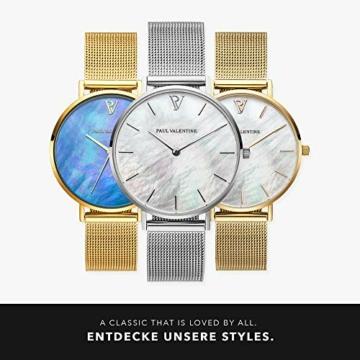 Paul Valentine - Damenuhr mit Mesh Armband - 32, 36 oder 38mm - Edle Damen Uhr mit japanischem Quarzwerk - Spritzwassergeschützt - Armbanduhr für Damen (Silver Seashell Mesh 36 mm) - 6