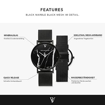 Paul Valentine - Damenuhr mit Mesh Armband - 32, 36 oder 38mm Metallic Ziffernblatt - Edle Damen Uhr mit japanischem Quarzwerk (32mm, Black Mesh) - 2