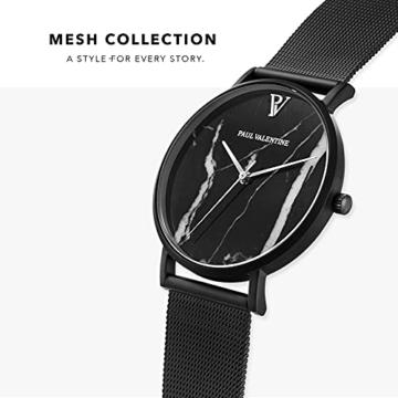 Paul Valentine - Damenuhr mit Mesh Armband - 32, 36 oder 38mm Metallic Ziffernblatt - Edle Damen Uhr mit japanischem Quarzwerk (32mm, Black Mesh) - 3