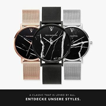 Paul Valentine - Damenuhr mit Mesh Armband - 32, 36 oder 38mm Metallic Ziffernblatt - Edle Damen Uhr mit japanischem Quarzwerk (32mm, Black Mesh) - 6
